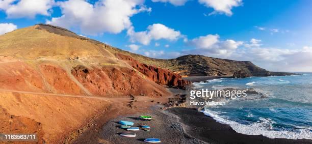 lanzarote, canary islands - playa de el golfo (6 stitched shots) - lanzarote stock pictures, royalty-free photos & images