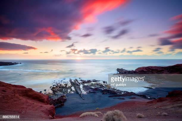 lanzarote - coast of el golfo - timanfaya national park stock pictures, royalty-free photos & images