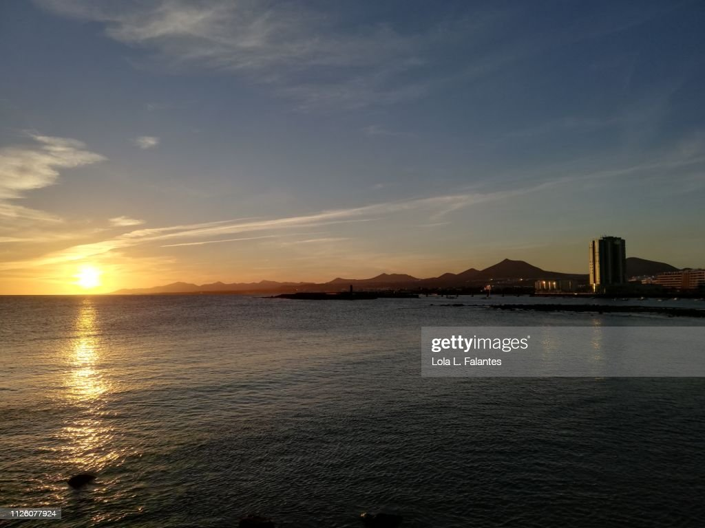 Lanzarote coastline at sunset : Foto de stock