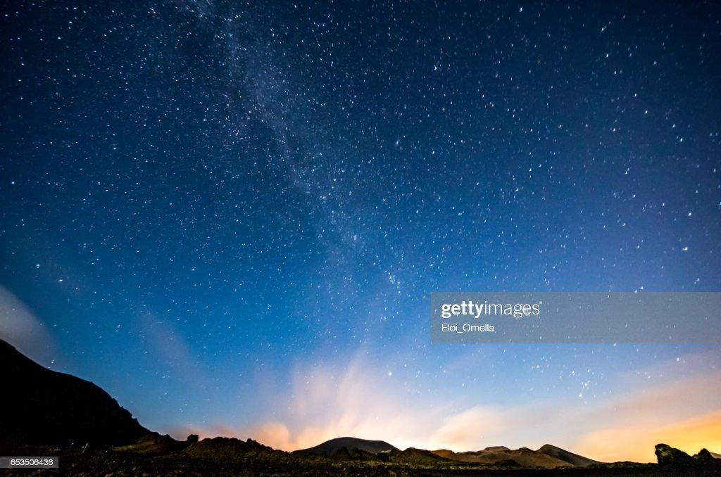 lanzarote night sky milky way : Stock Photo