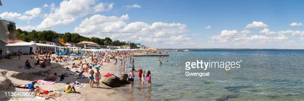 lanzheron beach in odessa - odessa ukraine stock pictures, royalty-free photos & images