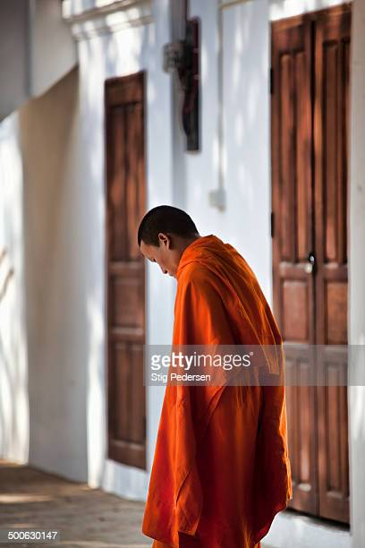 Lao monk mourning after the burning of an elderly monk who passed away in a locale temple in Luang Prabang.