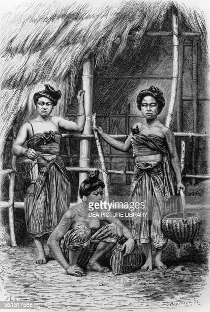 Lao women in Petchaburi province Thailand engraving from Travels in the Central Parts of IndoChina Cambodia and Laos During the Years 1858 and 1860...