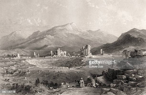 Laodicea ruins of the ancient Greek city 19th century engraving
