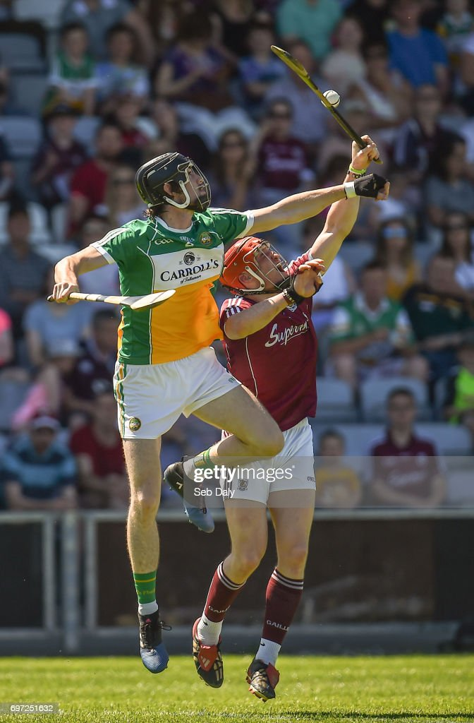 Laois , Ireland - 18 June 2017; Ben Conneely of Offaly in action against Conor Whelan of Galway during the Leinster GAA Hurling Senior Championship Semi-Final match between Galway and Offaly at O'Moore Park in Portlaoise, Co Laois.