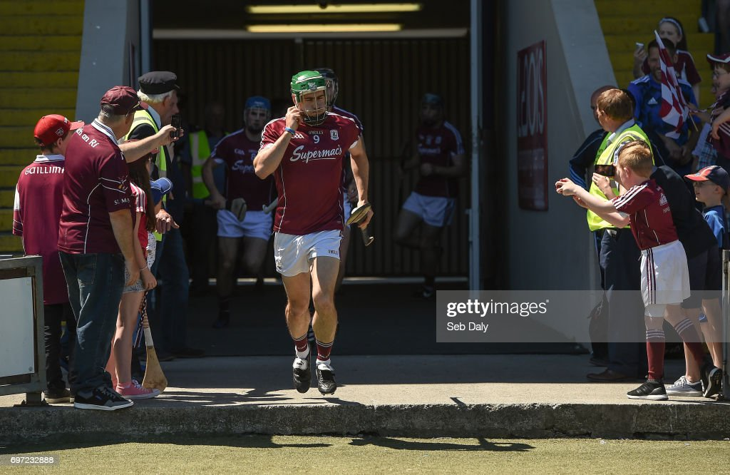 Laois , Ireland - 18 June 2017; David Burke of Galway leads his side out ahead of the Leinster GAA Hurling Senior Championship Semi-Final match between Galway and Offaly at O'Moore Park in Portlaoise, Co Laois.