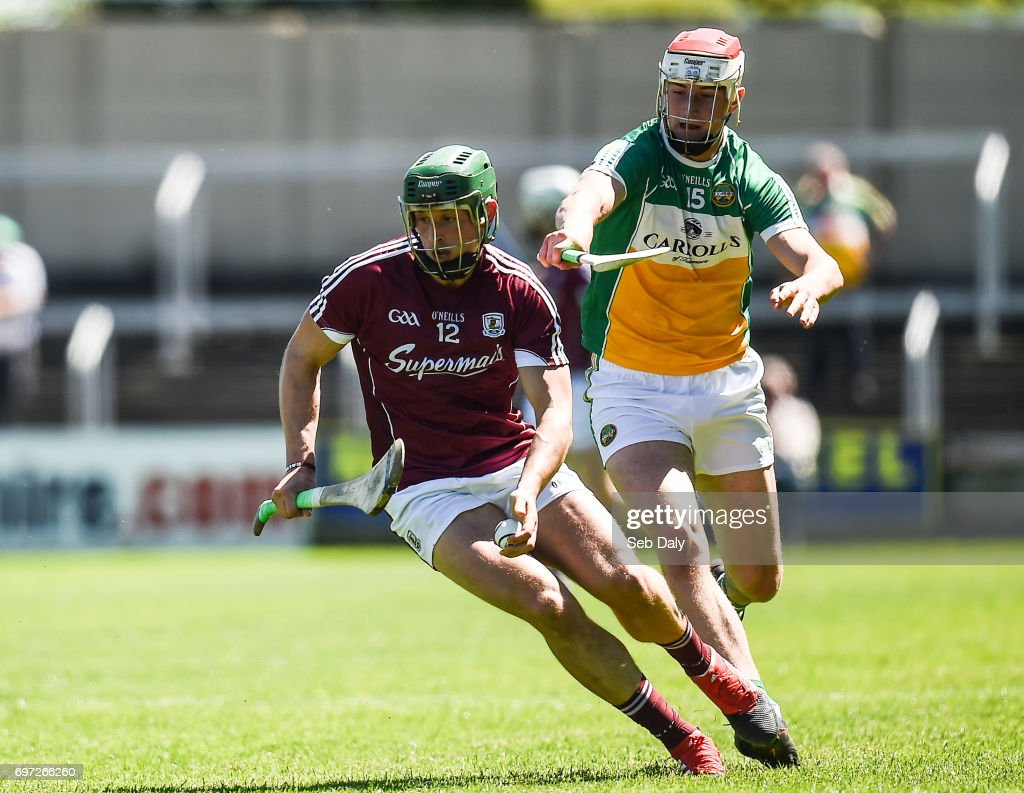Laois , Ireland - 18 June 2017; Niall Burke of Galway in action against Oisín Kelly of Offaly during the Leinster GAA Hurling Senior Championship Semi-Final match between Galway and Offaly at O'Moore Park in Portlaoise, Co Laois.
