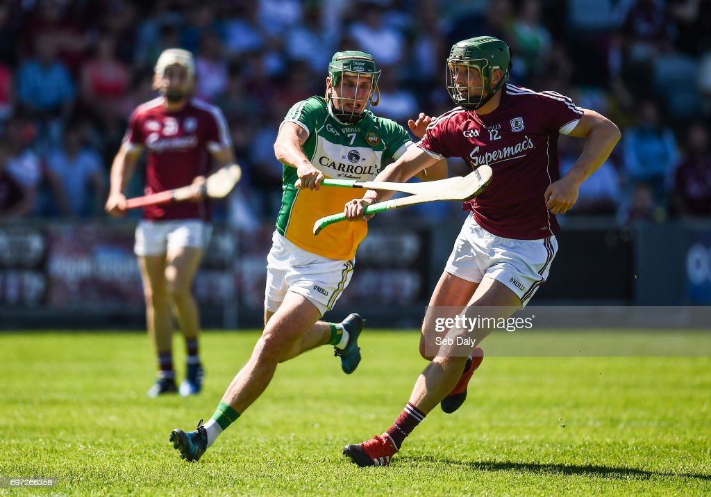 Laois , Ireland - 18 June 2017; Niall Burke of Galway in action against David King of Offaly during the Leinster GAA Hurling Senior Championship Semi-Final match between Galway and Offaly at O'Moore Park in Portlaoise, Co Laois.