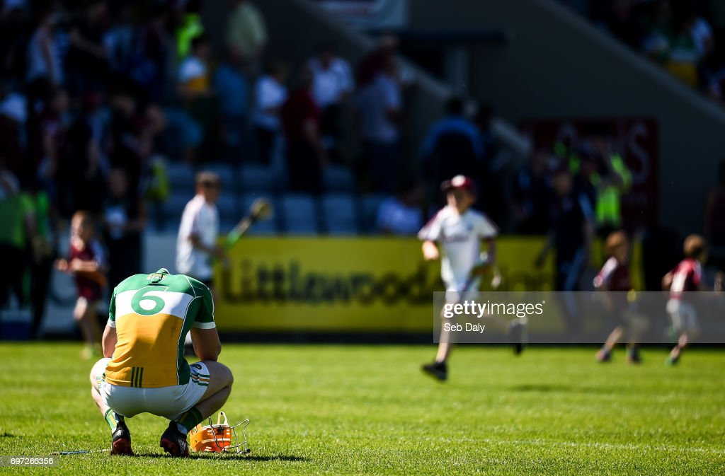 Laois , Ireland - 18 June 2017; Seán Gardiner of Offaly reacts following his side's defeat during the Leinster GAA Hurling Senior Championship Semi-Final match between Galway and Offaly at O'Moore Park in Portlaoise, Co Laois.