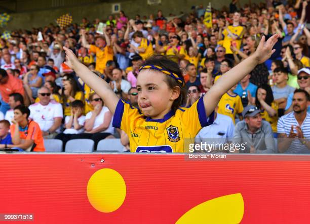 Laois Ireland 7 July 2018 A young Roscommon fan cheers on her side during the GAA Football AllIreland Senior Championship Round 4 match between...