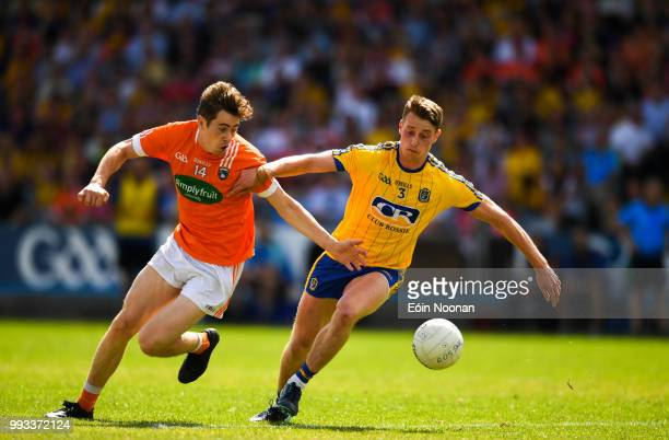 Laois Ireland 7 July 2018 Andrew Murnin of Armagh in action against Niall McInerney of Roscommon during the GAA Football AllIreland Senior...
