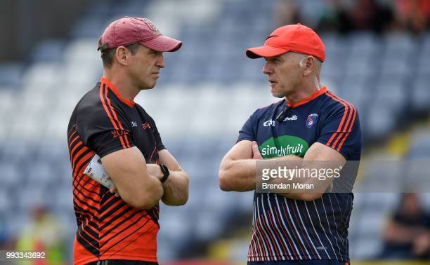 Laois Ireland 7 July 2018 Armagh manager Kieran McGeeney left with Armagh selector Jim McCorry prior to the GAA Football AllIreland Senior...