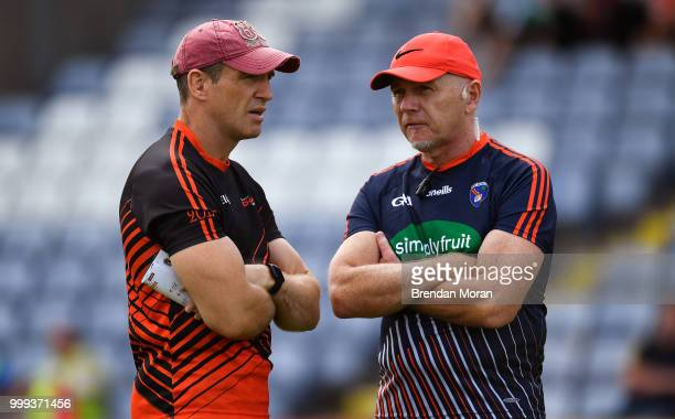 Laois Ireland 7 July 2018 Armagh manager Kieran McGeeney left with Armagh selector Jim McCorry during the GAA Football AllIreland Senior Championship...