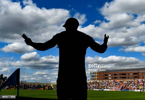 Laois Ireland 7 July 2018 Armagh manager Kieran McGeeney reacts during the final moments of the GAA Football AllIreland Senior Championship Round 4...