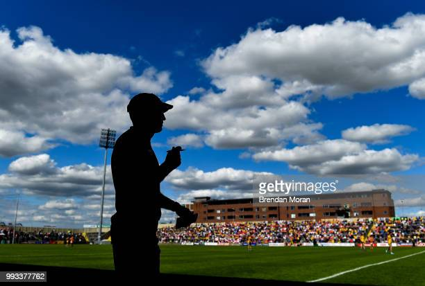 Laois Ireland 7 July 2018 Armagh manager Kieran McGeeney watches the final moments of the GAA Football AllIreland Senior Championship Round 4 match...