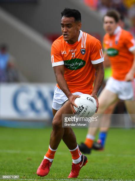 Laois Ireland 7 July 2018 Jemar Hall of Armagh during the GAA Football AllIreland Senior Championship Round 4 match between Roscommon and Armagh at...