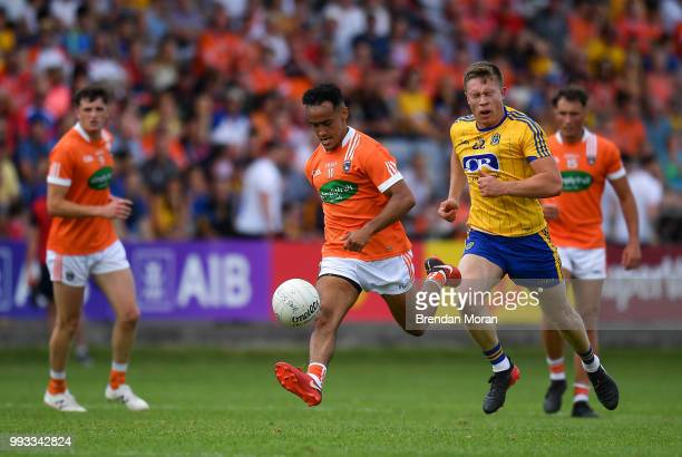 Laois Ireland 7 July 2018 Jemar Hall of Armagh in action against Niall Daly of Roscommon during the GAA Football AllIreland Senior Championship Round...