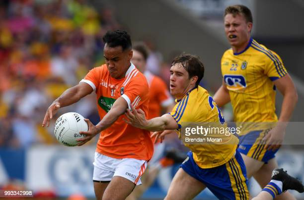 Laois Ireland 7 July 2018 Jemar Hall of Armagh is tackled by David Murray of Roscommon during the GAA Football AllIreland Senior Championship Round 4...
