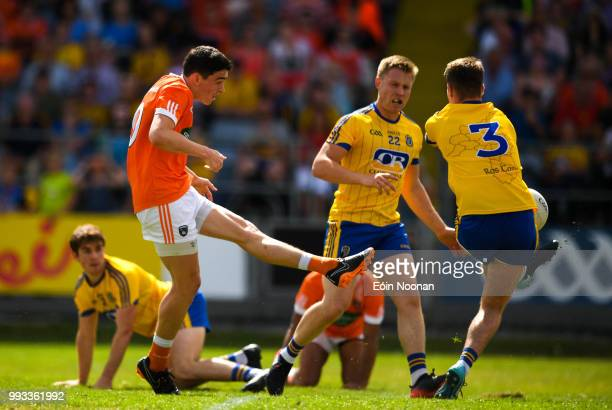 Laois Ireland 7 July 2018 Niall McInerney of Roscommon uses his leg to block the goal bound shot of Rory Grugan of Armagh resulting in a penalty for...