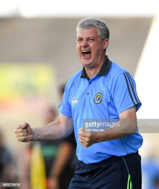 Laois Ireland 7 July 2018 Roscommon manager Kevin McStay celebrates after his side scored a late goal during the GAA Football AllIreland Senior...