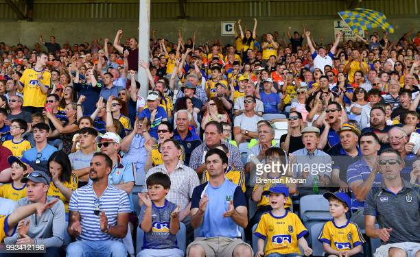 Laois Ireland 7 July 2018 Roscommon supporters cheer on their side during the GAA Football AllIreland Senior Championship Round 4 match between...