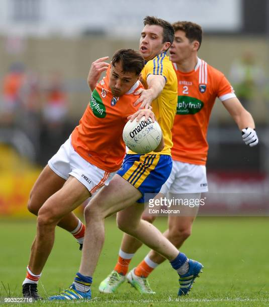 Laois Ireland 7 July 2018 Stephen Sheridan of Armagh in action against Cathal Cregg of Roscommon during the GAA Football AllIreland Senior...