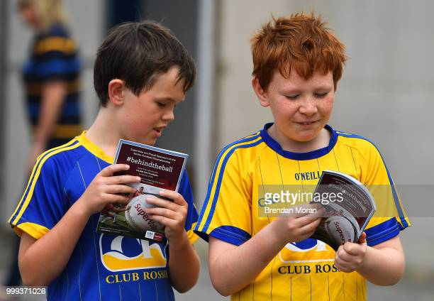 Laois Ireland 7 July 2018 Young fans check out their match programmes prior to the GAA Football AllIreland Senior Championship Round 4 match between...