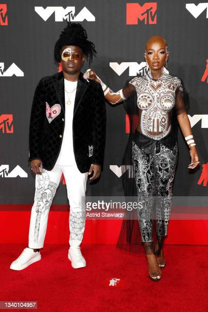 Laolu Senbanjo and guest attend the 2021 MTV Video Music Awards at Barclays Center on September 12, 2021 in the Brooklyn borough of New York City.