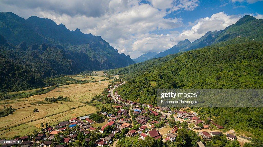 Laos aerial - Phatang, Vangvieng : Stock Photo