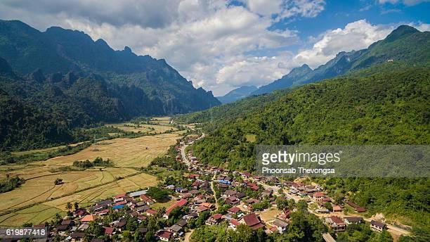 Laos aerial - Phatang, Vangvieng