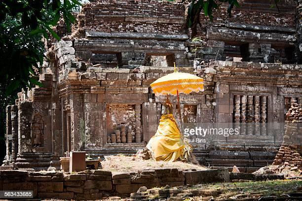 Laos, Champasak. Buddha statue at Vat Phou, Laos