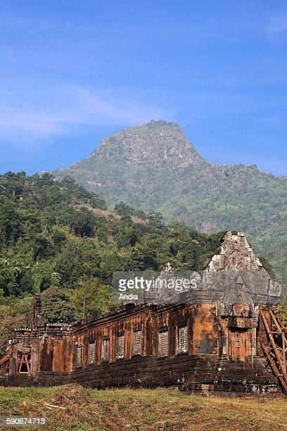 Laos Champasak Ruins of Wat Phou former Khmer Hindu temple complex Forest and mountains in the background