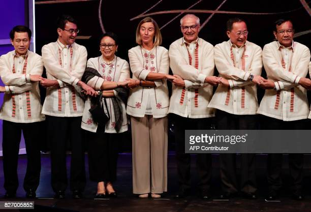 Laos' Foreign Minister Saleumxay Kommasith Japan's Foreign Minister Taro Kono Indonesia's Foreign Minister Retno Marsudi and EU Foreign Policy Chief...