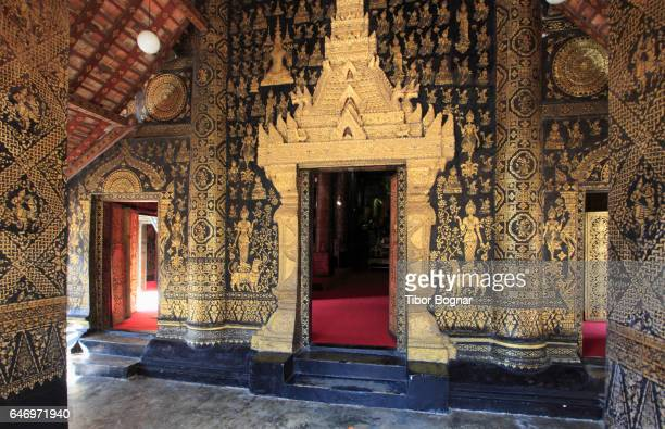 Laos, Luang Prabang, Wat Xieng Thong, Sim, interior, buddhist temple,