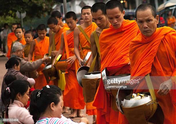 Laos: Monks Begging Alms at Dawn, Luang Prabang