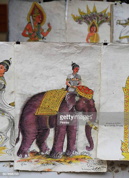 laos paper painting, vientiane. - laotian culture stock pictures, royalty-free photos & images