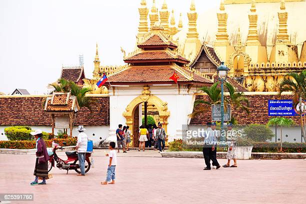 Laos people and tourists at Phat That Luang