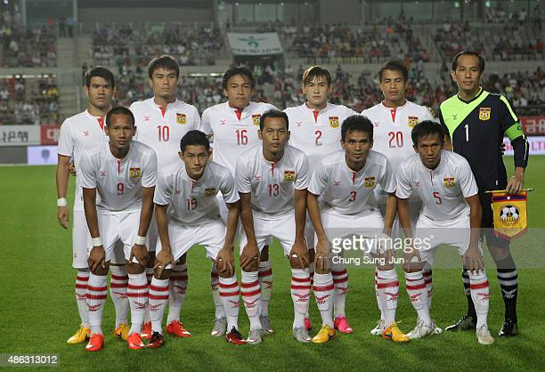 Laos team pose during the 2018 FIFA World Cup Qualifier Round 2 Group G match between South Korea and Laos at Hwaseong on September 3 2015 in Hwasung...