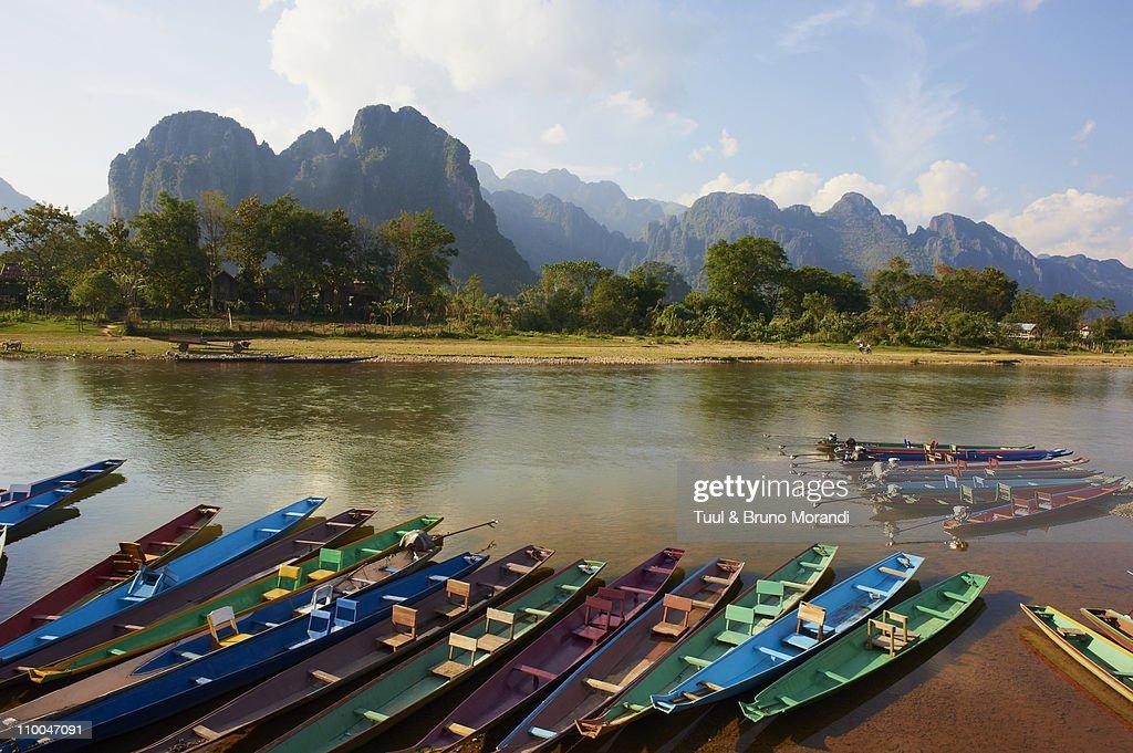 Laos, Vang Vieng, Nam song river : Stock Photo