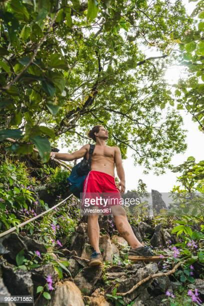 Laos, Vang Vieng, young man hiking in the jungle