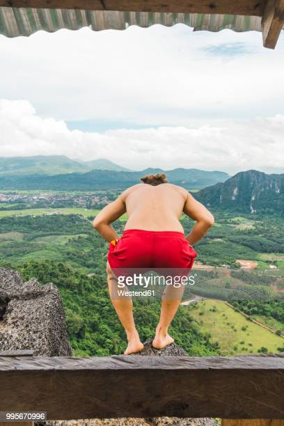 Laos, Vang Vieng, young man overlooking landscape of rice fields