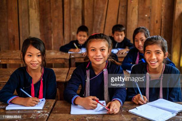 laotian children in a primary school, village in northern laos - laotian culture stock pictures, royalty-free photos & images