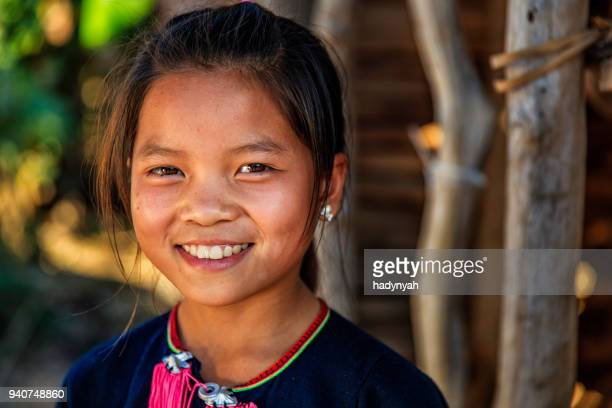 Laotian little girl in a village in Northern Laos