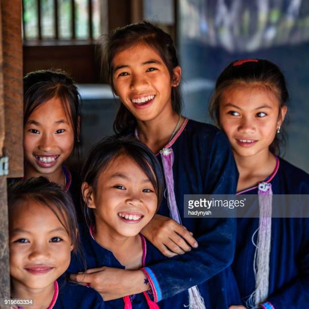 Laotian young girls in a primary school, village in Northern Laos