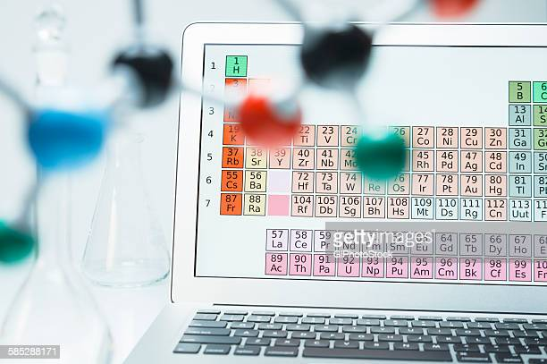 lap top with periodic table and ball and stick molecular model - periodic table stock photos and pictures