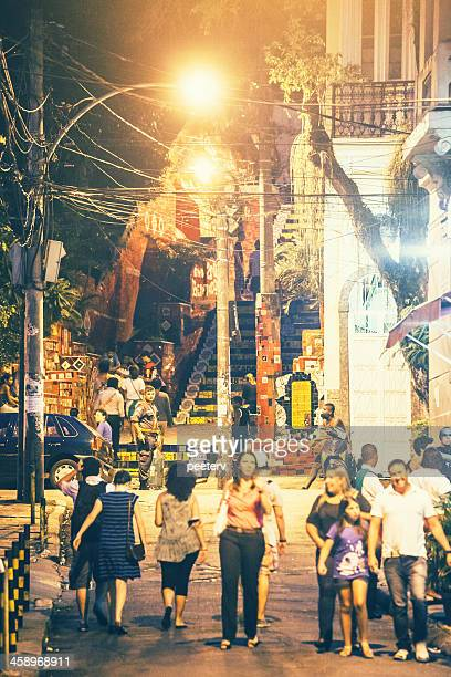 lapa stairs by night. - limpet stock photos and pictures