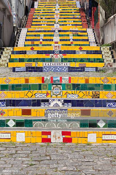 lapa stairs rio de janeiro - limpet stock pictures, royalty-free photos & images