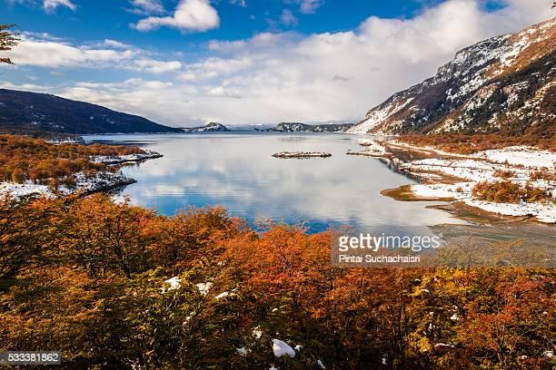 Lapataia Bay, Tierra del Fuego National Park in Autumn