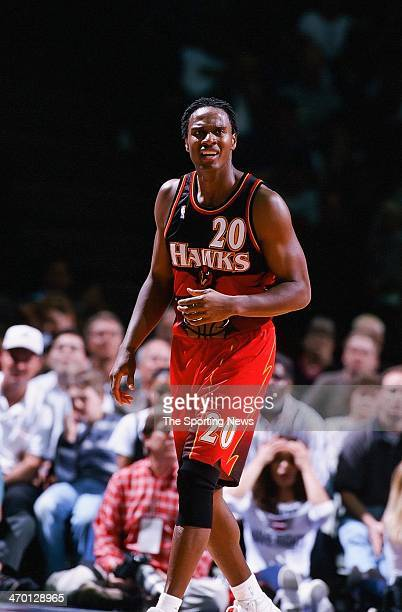 LaPhonso Ellis of the Atlanta Hawks during the game against the Houston Rockets on February 25 1999 at Compaq Center in Houston Texas