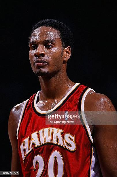 LaPhonso Ellis of the Atlanta Hawks looks on during the game against the Charlotte Hornets on April 12 2000 at Charlotte Colesium in Charlotte North...